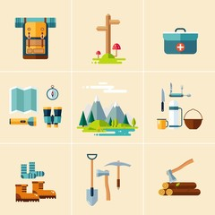 Camping Equipment Icons. Flat Design.