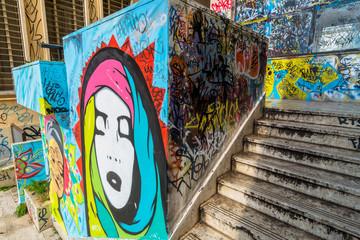 street art and graffiti on wall in Potenza, Italy