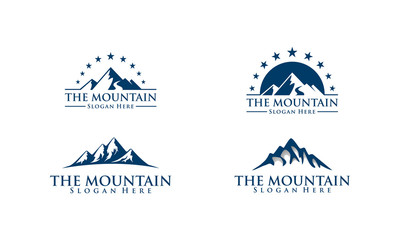 mountain, nature, green, landscape, sun, eco, vector, logo,