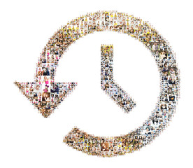 Icon of clock and arrow. Formed with people's photo
