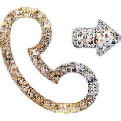 Icon of outgoing call. Formed with peoples photography