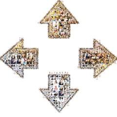 icon of circular arrows. formed with photos.