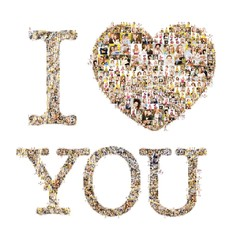 "a lot of pictures of people form the words ""I love you"". Isolated on white background"