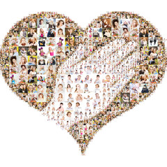 helping hand within the heart. Collage of portraits of people from a variety of Collage isolated on white background. Design idea edges are not smooth with protruding photos