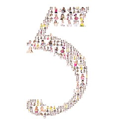 Large group of people portrait formed a number. On white background