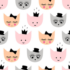 Seamless pattern with funny girlish cats with hat, crown, bow for kids holidays on white background. Cute cartoon kitty vector background illustration.