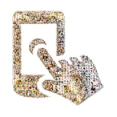 Icon of touch phone. Formed out of peoples photography