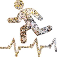 Health running icon. Formed out of peoples photography