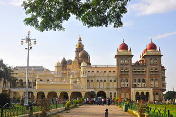 Mysore Palace is a famous landmark and tourist attraction in Mysore, India.