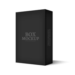 Realistic mockup black box isolated on white background.