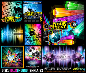 Big Set of Disco Club Flyer Template for your Music Event.