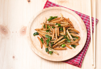Bamboo Caterpillar fried on wooddish