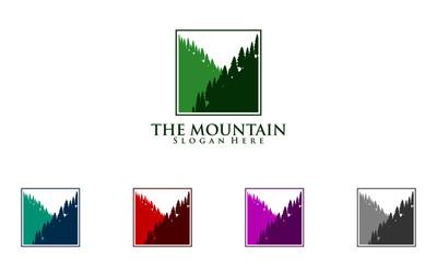 mountain, pine, tree, green, forest, logo, design