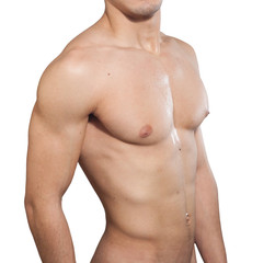 Male chest over white background