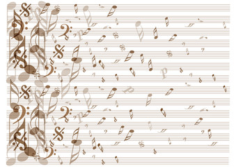 music notes icons on vintage paper