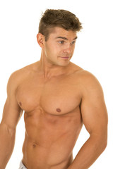 shirtless strong man upper body look back