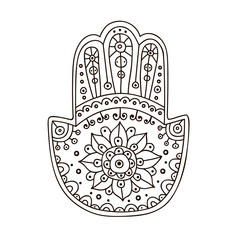 Vector hand drawn doodle hamsa with ornament.