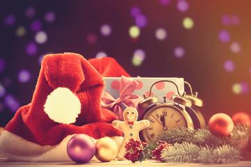 Santas hat and gifts