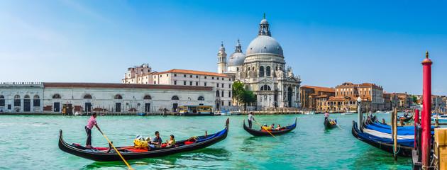 Foto auf Acrylglas Venedig Gondola on Canal Grande with Basilica di Santa Maria della Salute, Venice, Italy