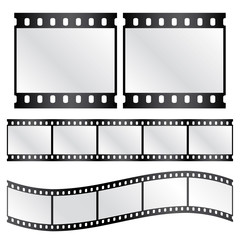 Vector film strips - waveform and straight strip. Insulated windows - you can create own variable long straight filmstrip. Eps 10 vector file.