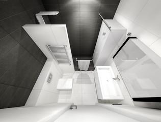 black and white bathroom 3D rendering