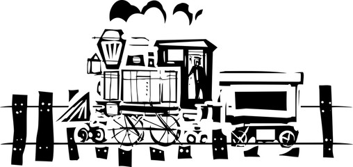 Simple Woodcut Locomotive
