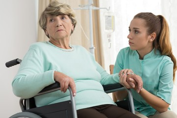 Disabled woman in care home