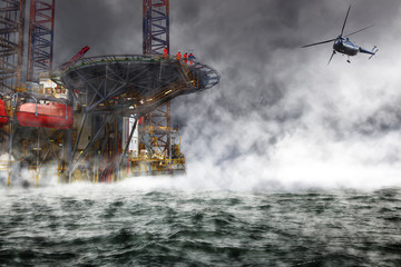 A helicopter rescue mission landing on Oil Rig.