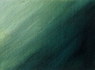 Green to black gradient. Abstract acrylic painting.