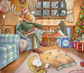 Cozy Christmas - Detailed watercolor art of a moose, penguin, and a baby polar bear, inside their cozy home on Christmas Eve.