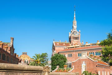 Buildings of the former Hospital of the Holy Cross and Saint Paul, Hospital de la Santa Creu i Sant Pau. The famous building, designed in the catalan modernisme, is a UNESCO World Heritage Site