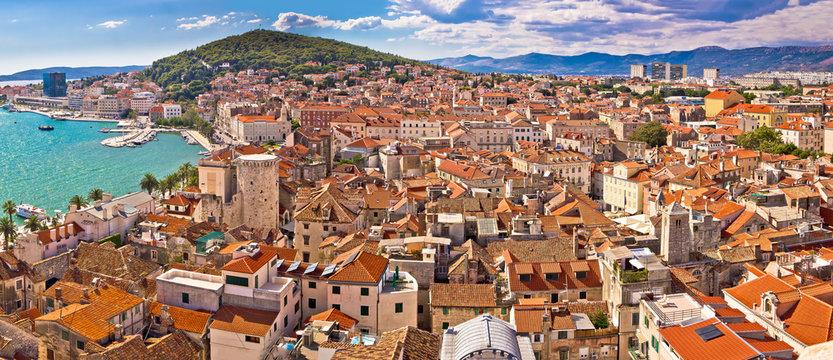 City of Split historic city core aerial view