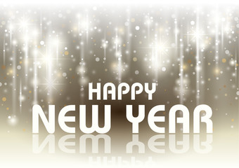 Happy New Year Card with Falling Glowing Stars - Background Illustration, Vector
