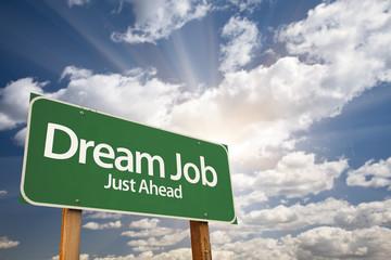 Dream Job Green Road Sign Over Clouds