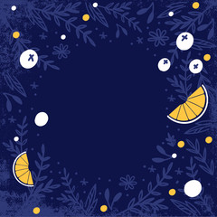Abstract blue background with blueberries and oranges.