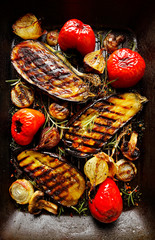 Grilled vegetables: eggplant, peppers, onions, mushrooms
