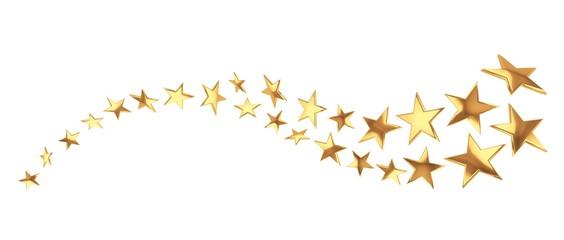 Flying golden stars on white background