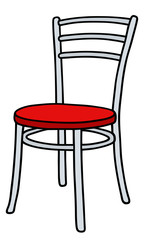 Red and white chair / Hand drawing, vector