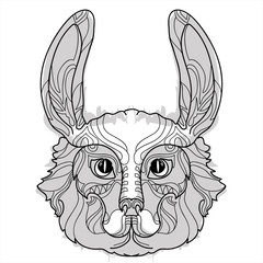 Rabbit head doodle with black nose.