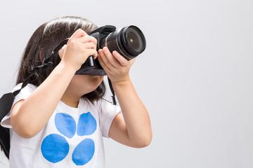 Kid Using Camera on White / Kid Using Camera / Kid Using Camera DSLR, Studio Shot