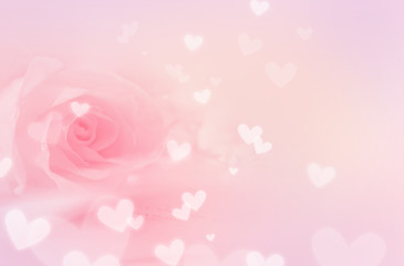 Pastel pink background, with rose and hearts