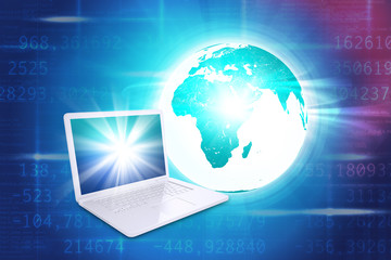 Laptop with Earth globe on blue