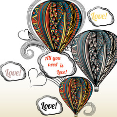 All you need is love. Air balloon with hippie style ornament in