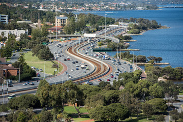PERTH, AUSTRALIA, AUGUST, 18 2015 - Town congested highway