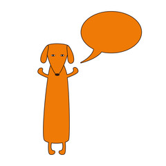 Dachshund with speech bubble