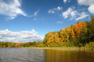 Landscape colorful autumn forest lake river sky clouds