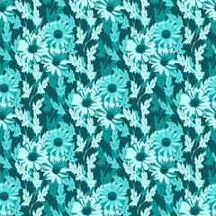 Seamless floral background in turquoise colors. Vector illustration.