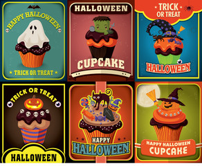 Vintage Halloween cupcake design set