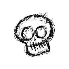 grunge skull in doodle style