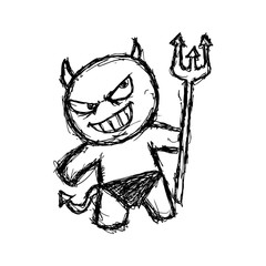 cute devil in doodle style